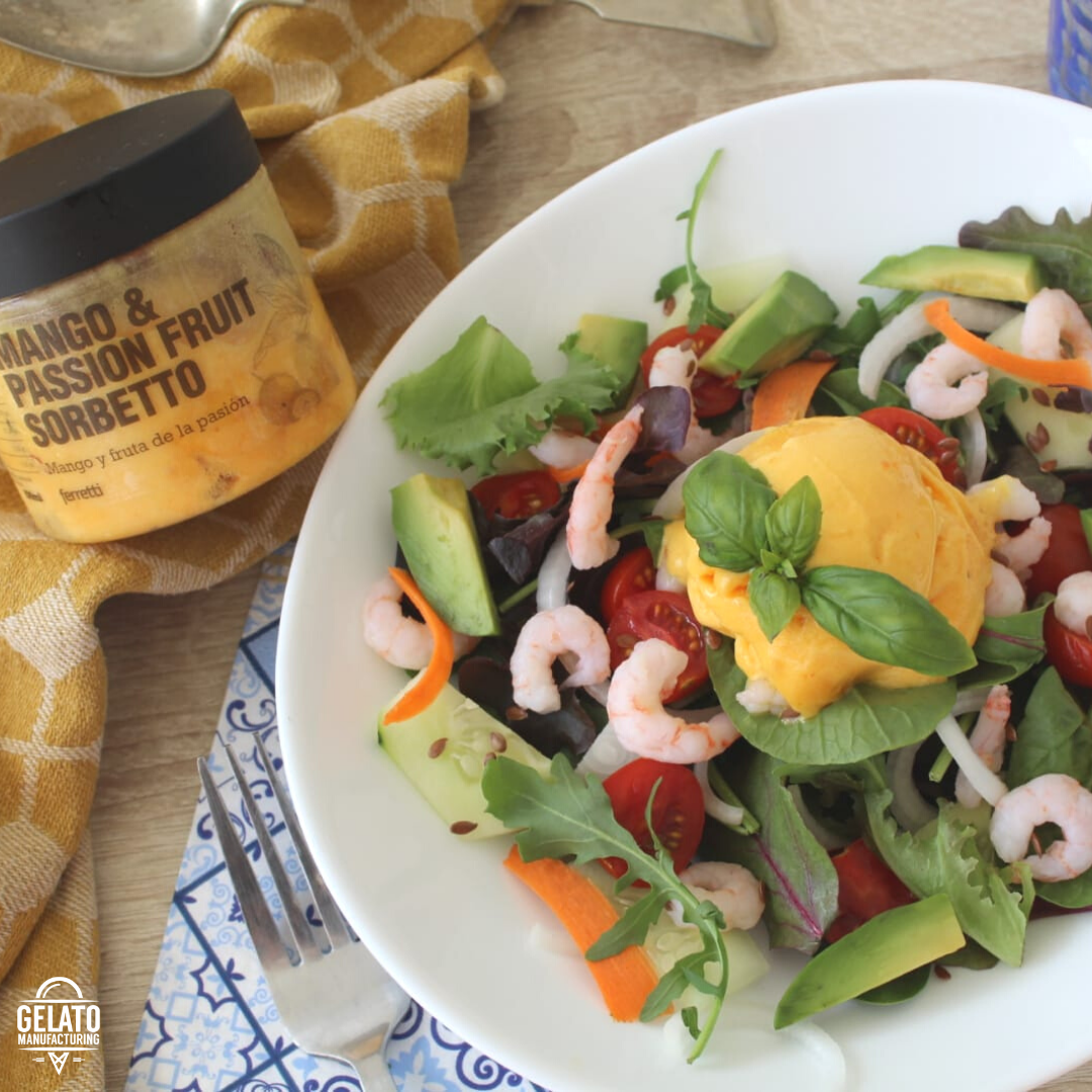 Prawn and avocado salad with mango sorbet